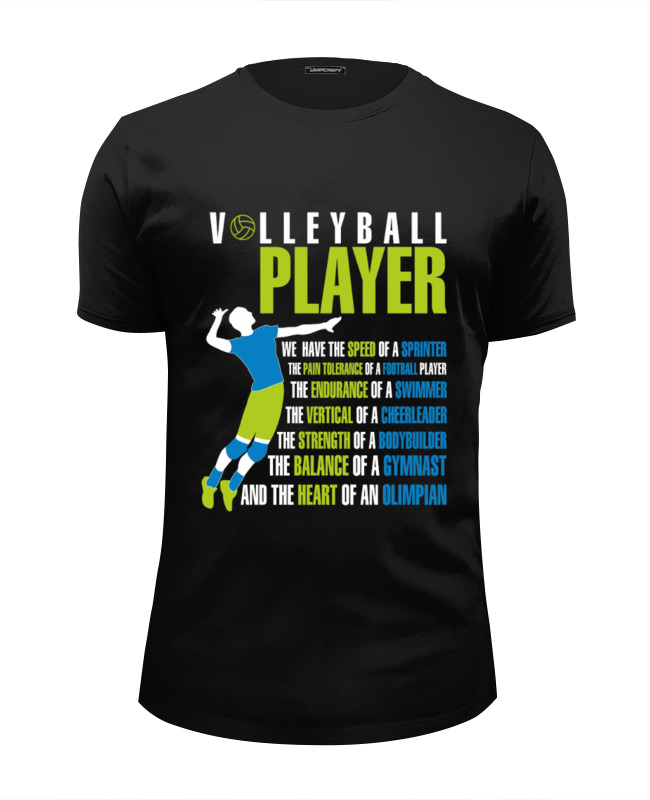 Футболка Wearcraft Premium Slim Fit Printio Volleyball player футболка wearcraft premium printio volleyball player