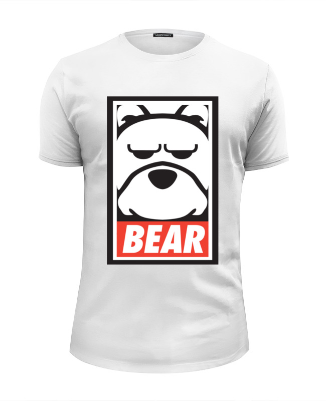Футболка Wearcraft Premium Slim Fit Printio Мишка (bear, obey) майка классическая printio мишка bear obey