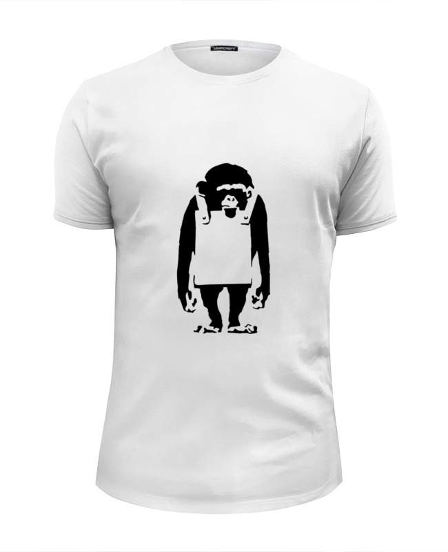 Футболка Wearcraft Premium Slim Fit Printio Шимпанзе с рекламным щитом