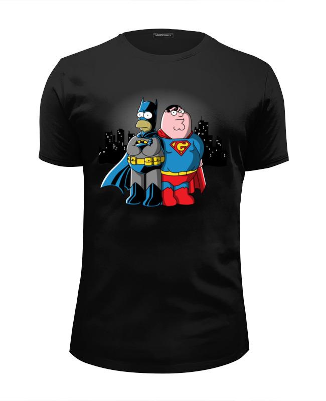 все цены на Футболка Wearcraft Premium Slim Fit Printio Бэтмен симпсон и супермен гриффин онлайн