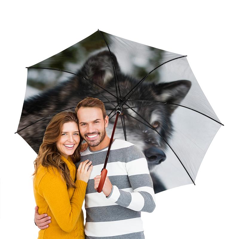 Зонт-трость двусторонний с деревянной ручкой Printio Серый волк зонт трость с деревянной ручкой printio волк