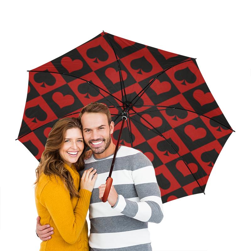 Зонт-трость двусторонний с деревянной ручкой Printio Черви - пики