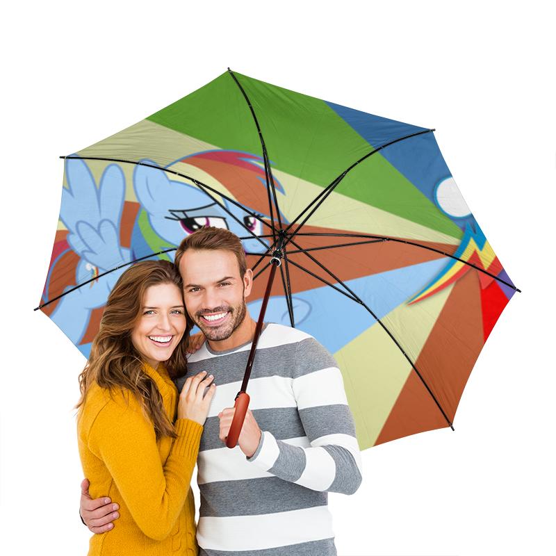 Зонт-трость двусторонний с деревянной ручкой Printio Rainbow dash color line