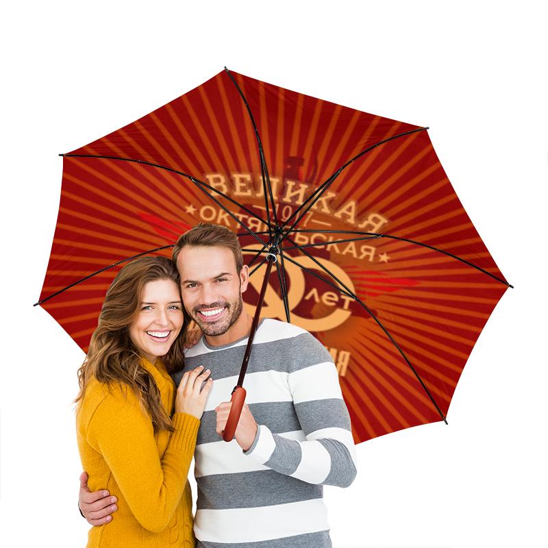 Зонт-трость двусторонний с деревянной ручкой Printio Октябрьская революция холст 30x30 printio октябрьская революция