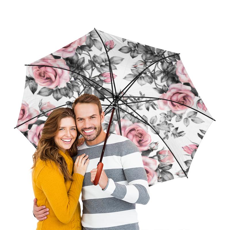 Зонт-трость двусторонний с деревянной ручкой Printio Цветы цена и фото