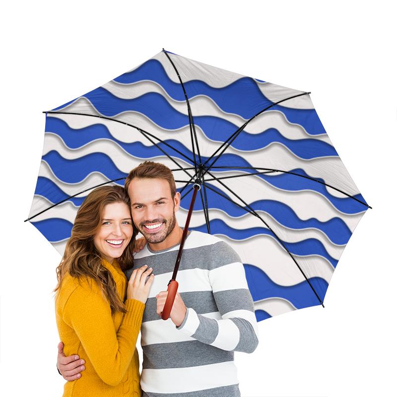Зонт-трость двусторонний с деревянной ручкой Printio Абстрактные волны зонт трость с деревянной ручкой printio зонт трость волны