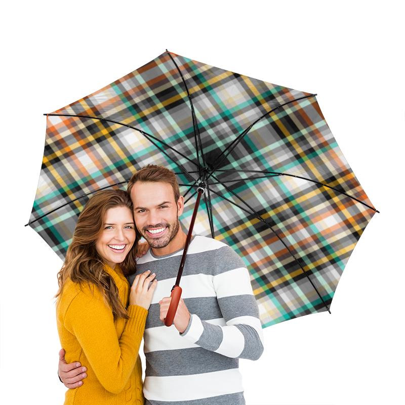 Зонт-трость двусторонний с деревянной ручкой Printio Клетчатый зонт трость двусторонний с деревянной ручкой printio голубой узор