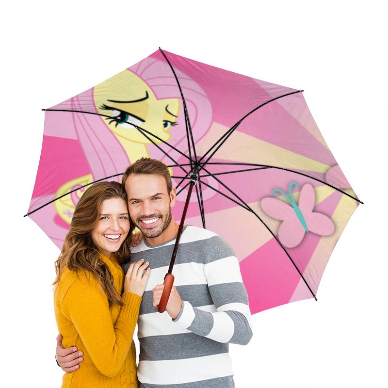 Зонт-трость двусторонний с деревянной ручкой Printio Fluttershy color line бабушкино лу��ошко фрикадельки из индейки в бульоне пюре с 8 мес