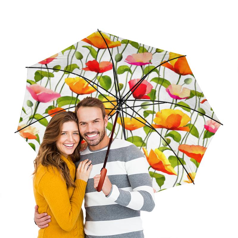 Зонт-трость двусторонний  деревянной ручкой Printio Маки