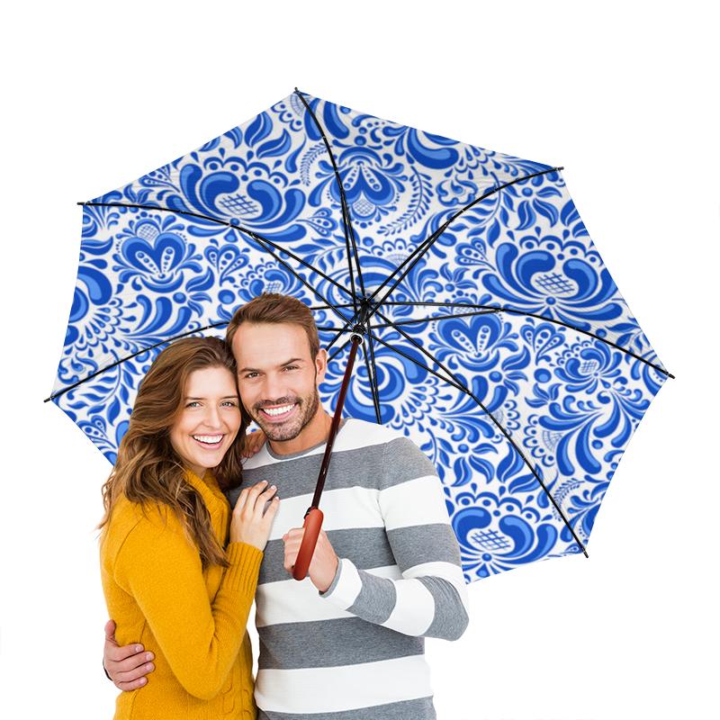 Зонт-трость двусторонний с деревянной ручкой Printio
