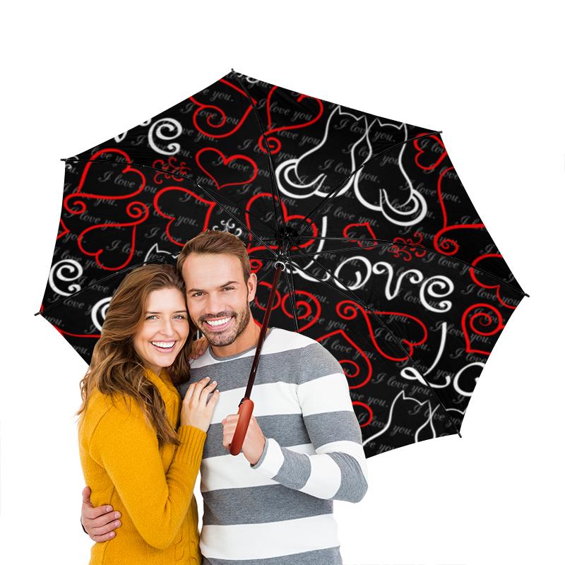Зонт-трость двусторонний с деревянной ручкой Printio День св. валентина зонт трость двусторонний с деревянной ручкой printio день св валентина