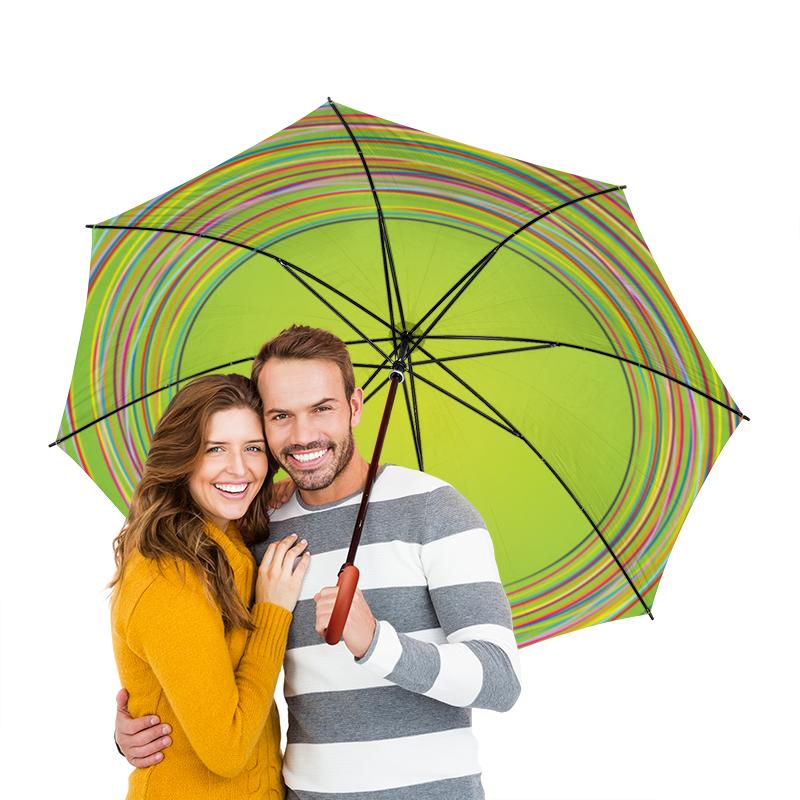 Зонт-трость двусторонний с деревянной ручкой Printio Разноцветные круги
