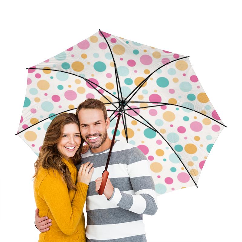 Зонт-трость двусторонний с деревянной ручкой Printio Цветной горошек зонт трость с деревянной ручкой printio горошек