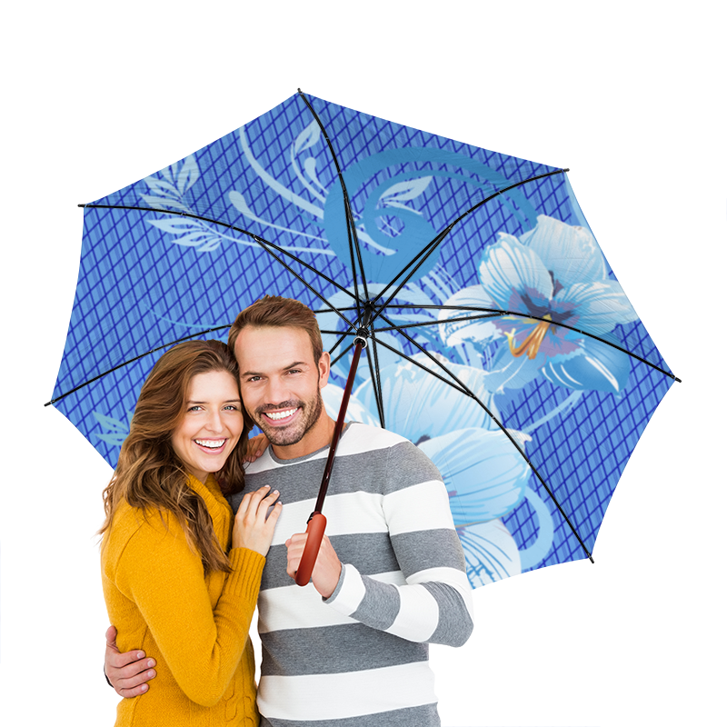 Зонт-трость двусторонний с деревянной ручкой Printio Лилии