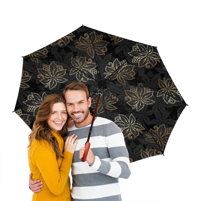 Зонт-трость двусторонний с деревянной ручкой Printio Листья масло из виноградных косточек trasimeno рафинированное 1 л италия