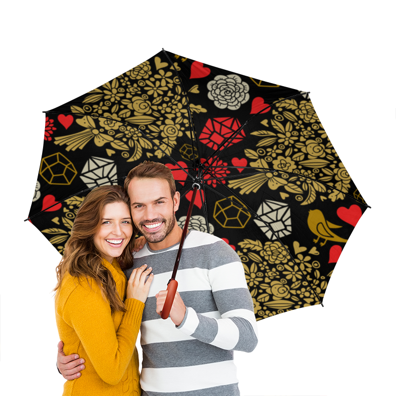 Зонт-трость двусторонний с деревянной ручкой Printio День св. валентина