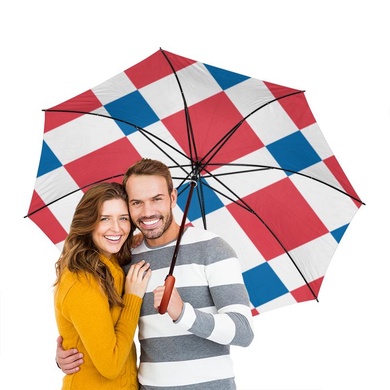 Зонт-трость двусторонний с деревянной ручкой Printio Клетчатый плед клетчатый