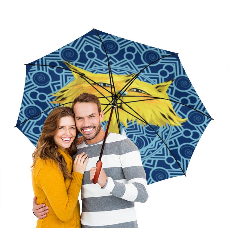 Зонт-трость двусторонний с деревянной ручкой Printio Рысёнок желтый полосатик сушеный каждый день 40г