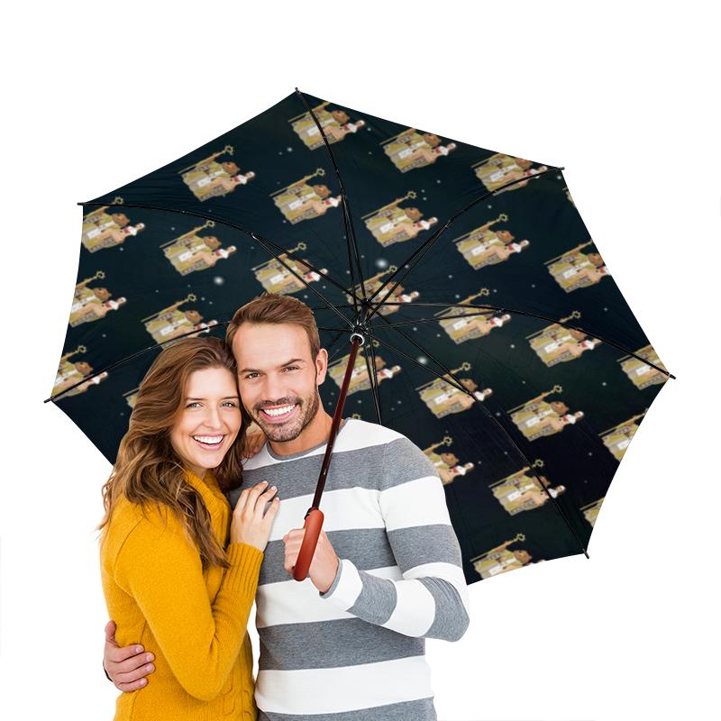 Зонт-трость двусторонний с деревянной ручкой Printio Фоном медведь wap.click на троне макаронные изделия bioitalia перья крупные 500г