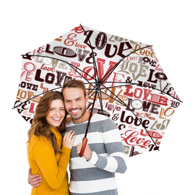 Зонт-трость двусторонний с деревянной ручкой Printio Love.