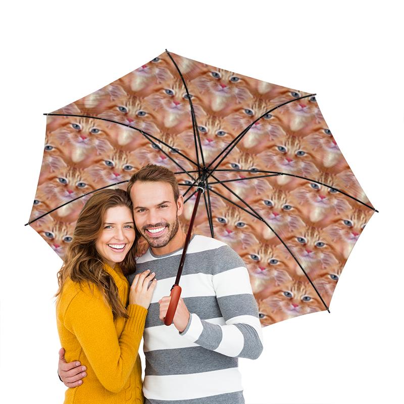 Зонт-трость двусторонний с деревянной ручкой Printio Кошечки зонт трость двусторонний с деревянной ручкой printio райский сад