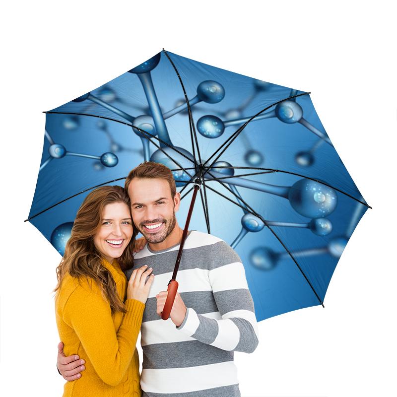 Зонт-трость двусторонний с деревянной ручкой Printio Молекула