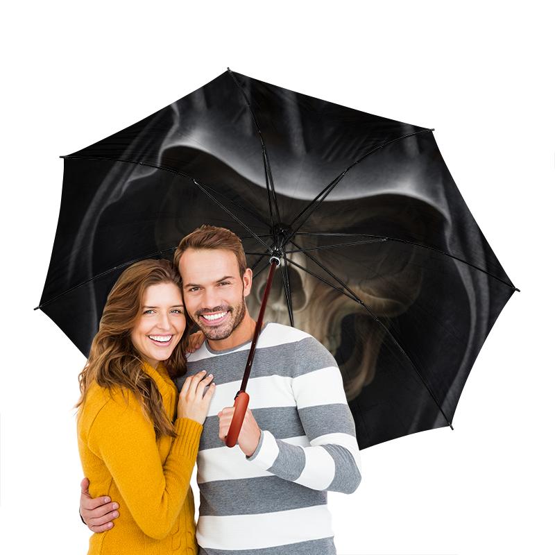 Зонт-трость двусторонний с деревянной ручкой Printio Череп в капюшоне зонт трость двусторонний с деревянной ручкой printio череп