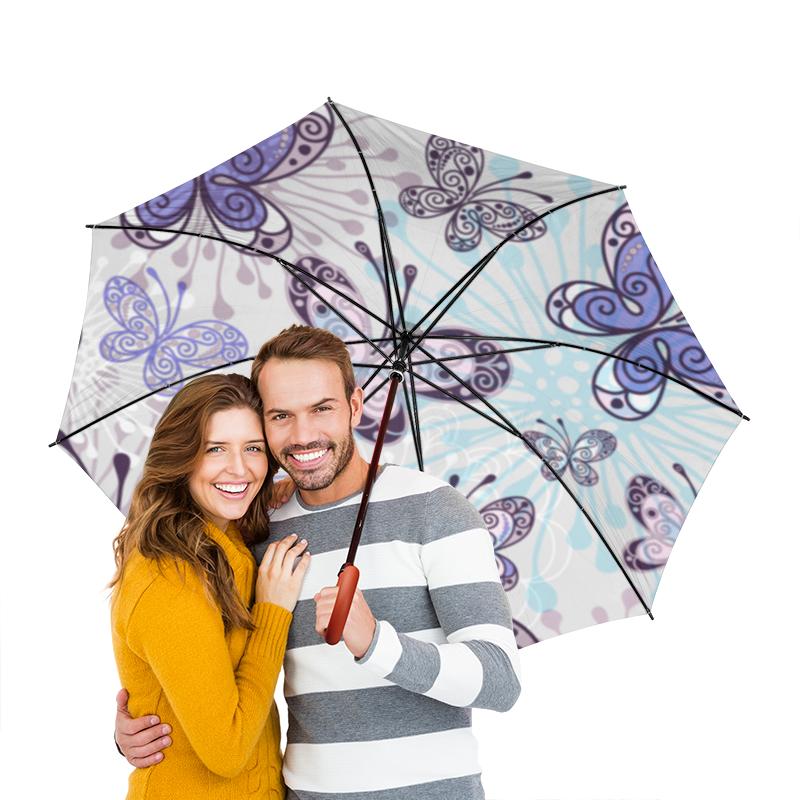 Зонт-трость двусторонний с деревянной ручкой Printio Фиолетовые бабочки зонт трость двусторонний с деревянной ручкой printio бабочки