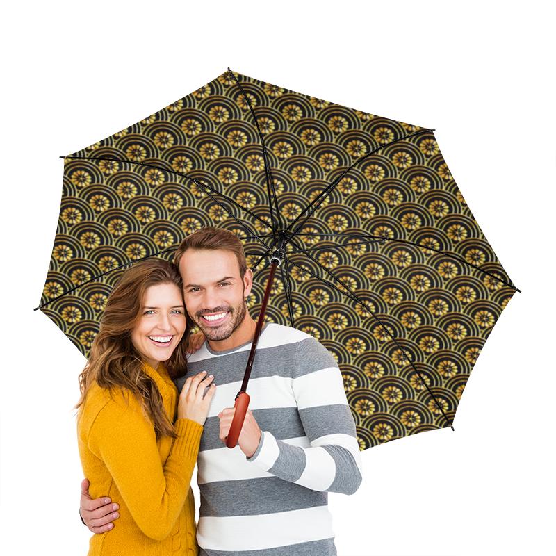 Зонт-трость двусторонний с деревянной ручкой Printio Японский узор