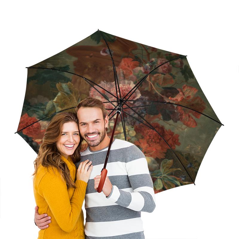 Зонт-трость двусторонний с деревянной ручкой Printio Цветы (ян ван хёйсум) фартук с полной запечаткой printio цветы ян ван хёйсум