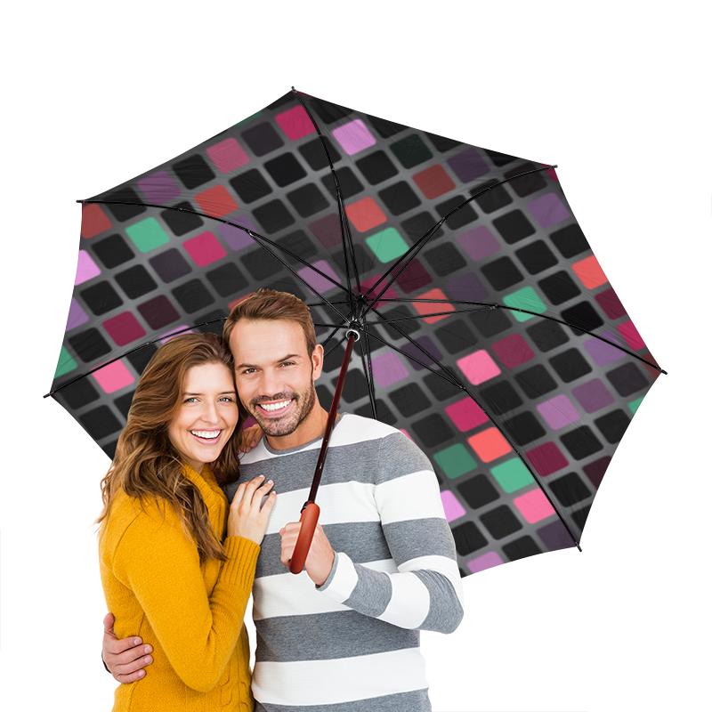 Зонт-трость двусторонний с деревянной ручкой Printio Разноцветная мозаика разноцветная мозаика тигренок на парашюте 2784