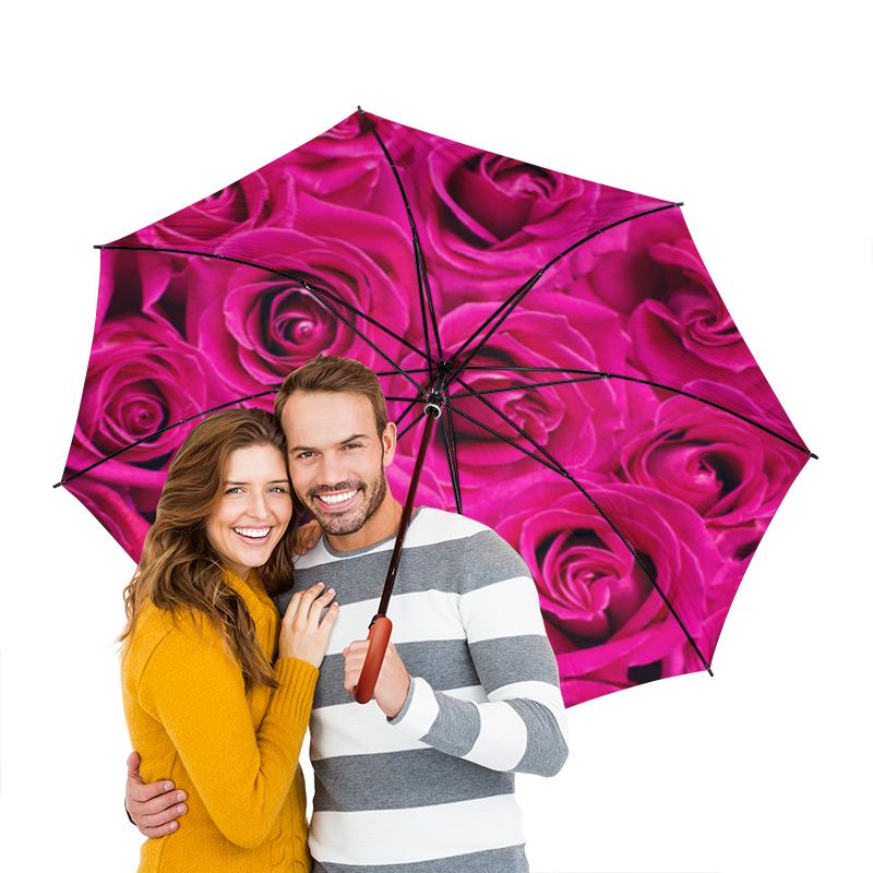 Зонт-трость двусторонний с деревянной ручкой Printio Pink roses зонт трость с деревянной ручкой printio закат в ялте айвазовский