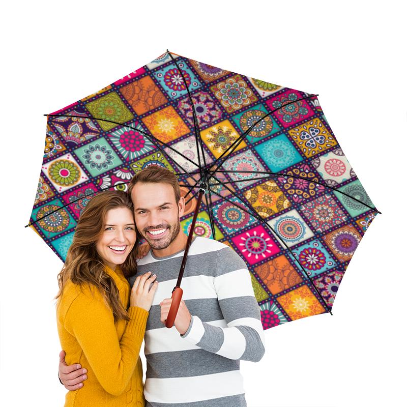 Зонт-трость двусторонний с деревянной ручкой Printio Разноцветные узоры