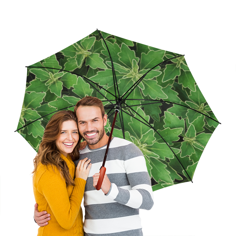Зонт-трость двусторонний с деревянной ручкой Printio Зеленые листья цена и фото