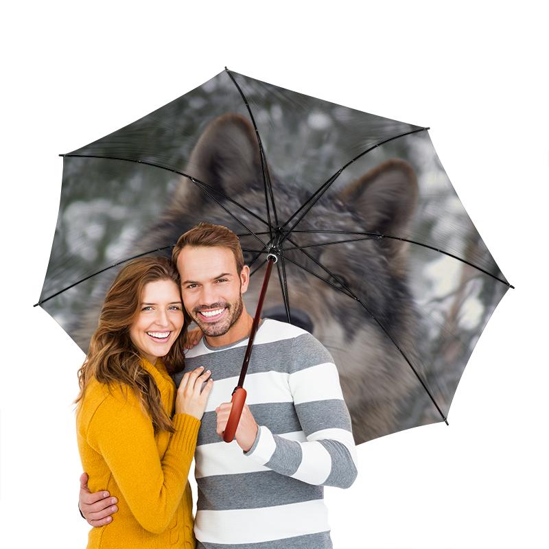 Зонт-трость двусторонний с деревянной ручкой Printio Волк в лесу чехол для ноутбука 14 printio волк в лесу