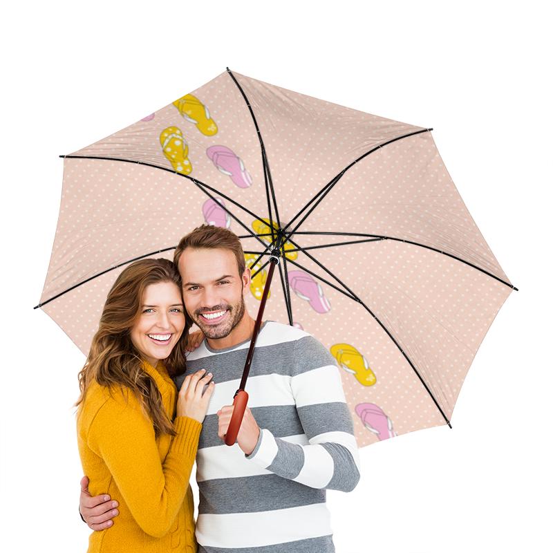 Зонт-трость двусторонний с деревянной ручкой Printio Сланцы