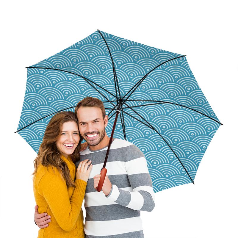 Зонт-трость двусторонний с деревянной ручкой Printio Волнистый куртка голубого цвета brums ут 00008775