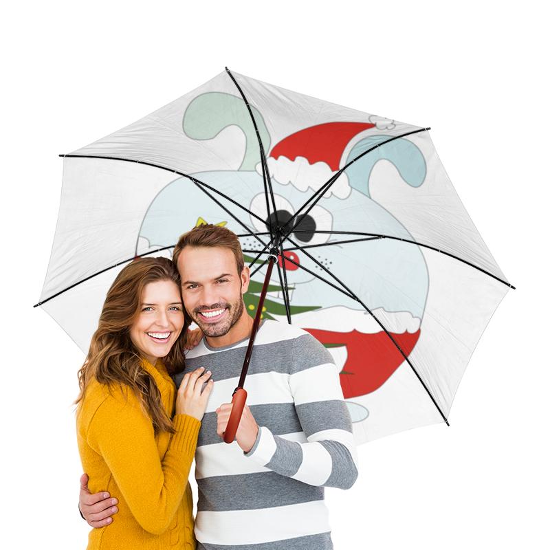 Зонт-трость двусторонний с деревянной ручкой Printio Новогодний заяц hcms 2972 hcms2972 2972 dip14 page 2