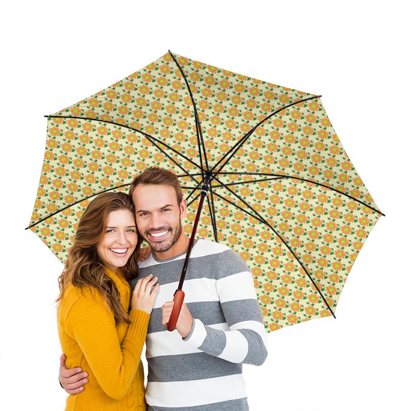 Зонт-трость двусторонний с деревянной ручкой Printio Графика. желтые цветы цена и фото