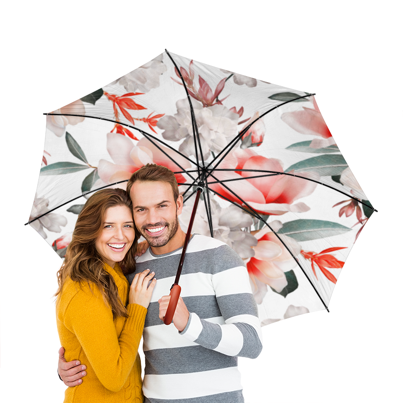 Зонт-трость двусторонний с деревянной ручкой Printio Цветы