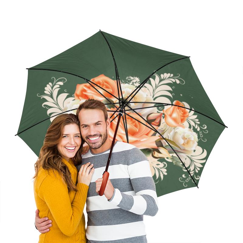 Зонт-трость двусторонний с деревянной ручкой Printio Чайная роза