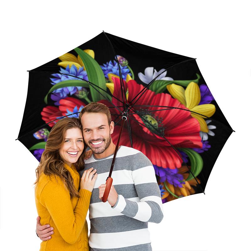 Зонт-трость двусторонний с деревянной ручкой Printio Композиция цветов композиция из цветов и конфет