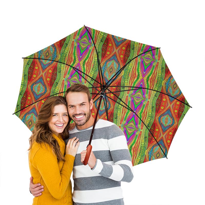 Зонт-трость двусторонний с деревянной ручкой Printio Узоры дождя три дождя