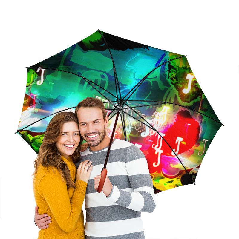 Зонт-трость двусторонний  деревянной ручкой Printio Abstract raster 160