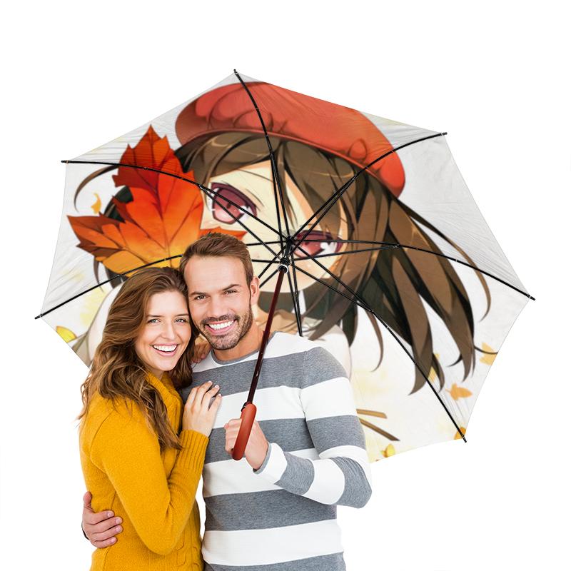 Зонт-трость двусторонний с деревянной ручкой Printio Осень .аниме девочка. прочие аниме реквезиты gorgeous