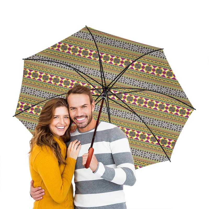Зонт-трость двусторонний с деревянной ручкой Printio Разноцветный геометрический орнамент зонт трость с деревянной ручкой printio геометрический орнамент