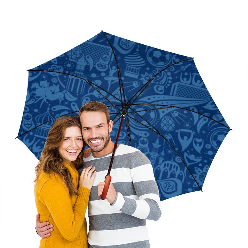 Зонт-трость двусторонний с деревянной ручкой Printio Футбол зонт трость с деревянной ручкой printio казимир малевич автопортрет