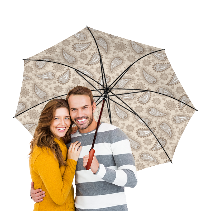 Зонт-трость двусторонний с деревянной ручкой Printio Индийский огурец