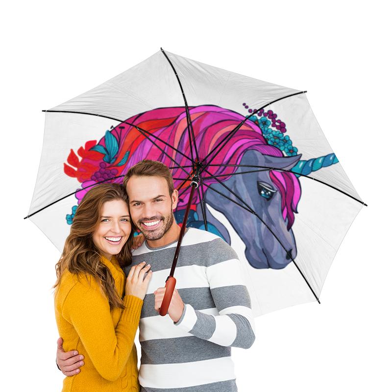 Зонт-трость двусторонний с деревянной ручкой Printio Единорог с розовыми волосами в цветах