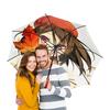 """Зонт-трость двусторонний с деревянной ручкой """"осень .аниме девочка. """" - осень, аниме, природа, девочка, желтые листья"""